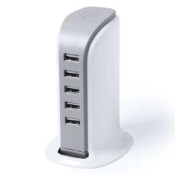 INCARCATOR USB CU 5 PORTURI PENTRU PRIZA LUZ ALB